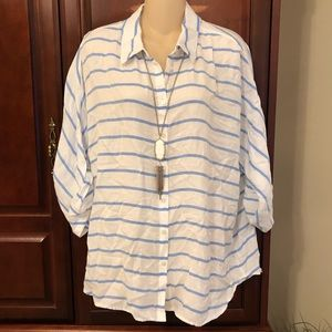 Chico's white and blue striped top